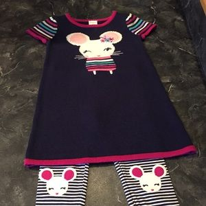 Gymboree 2 Piece Outfit: Sweater Dress & Leggings